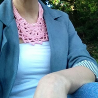Pink Crochet Bib Necklace with Bead Detail