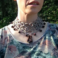 Fawn Beige Crochet Choker Necklace Decorated with Wooden Beads