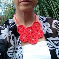 Coral Pink Crochet Bib Necklace with Bead Detail