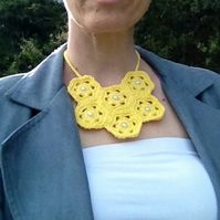 Yellow Crochet Bib Necklace with Bead Detail