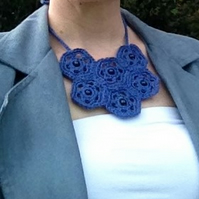 Blue Crochet Bib Necklace with Bead Detail