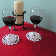 Crochet Wine Coasters and Wine Glass Markers - Set of 2 - White