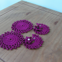 Crochet Wine Coasters and Wine Glass Markers - Set of 2 - Purple