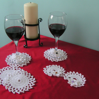 Crochet Wine Coasters and Wine Glass Markers - Set of 4 - White