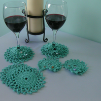 Crochet Wine Coasters and Wine Glass Markers - Set of 4 - Jade Green