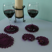 Crochet Wine Coasters and Wine Glass Markers - Set of 4 - Purple
