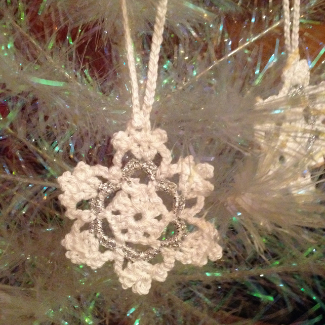 White Crochet Snowflake Tree Decorations - Set of 6