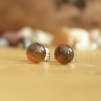 Round Amber Gemstone Surgical Steel Stud Earrings