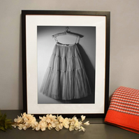 Black And White Fine Art Fashion Tulle Skirt Retro Ballet Print