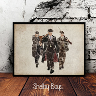 Peaky Blinders Shelby Boys A4 watercolour print