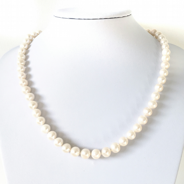 Genuine AAA white pearl necklace, wedding pearls, Christmas gift for her