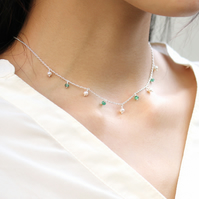 Tiny emerald and pearl choker necklace in 925 sterling silver or 14k gold fill