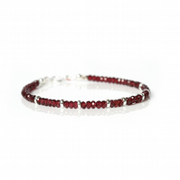 Natural garnet bracelet, January birthstone jewellery