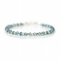 Swiss blue topaz bracelet, December birthstone jewellery, gift for her
