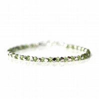 Peridot bracelet with sterling silver clasp, apple green gemstone jewellery
