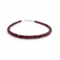 Natural red ruby bracelet, genuine ruby gemstone jewellery, gift for wife