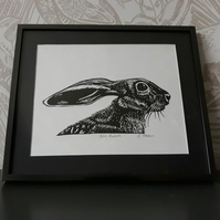 Hare Aware lino print