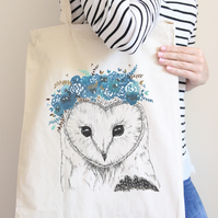 Tote bag, owl shopper bag, shopping bag, wildlife illustration, cotton tote bag