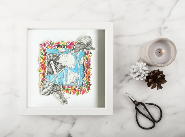 Framed original art, pen and ink illustration, snail art, watercolour art