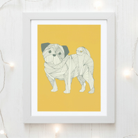 Pug dog art print, art for the home, a4 pug print, pug art,yellow print, pug art