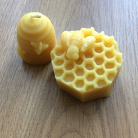 100% beeswax candles as honeycomb or hive