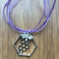 Bee and honey-comb pendant