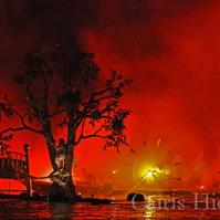 A4 photograph print of fire scene at docklands festival