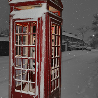 A4 photograph print of red phone-box in snow