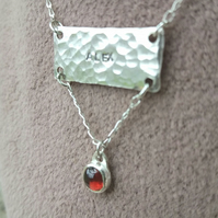 Handmade textured sterling silver name and birthstone necklace - made to order