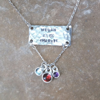 Handmade textured sterling silver family names and birthstones necklace