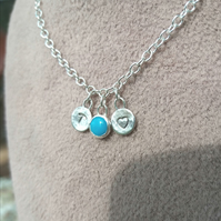 Handmade sterling silver initial and birthstone necklace - made to order