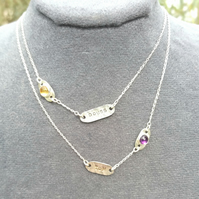 Handmade textured sterling silver name tags and birthstones necklace