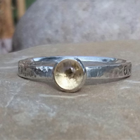 Personalised 5mm Citrine, November birthstone, name and DOB silver ring