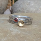 Personalised stacking rings with 3mm and 5mm birthstones, names and DOB