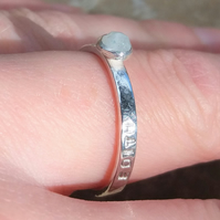 Personalised 4mm Moonstone, June birthstone, name and DOB silver ring