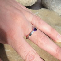 Personalised 4mm Amethyst, February birthstone, name and DOB silver ring
