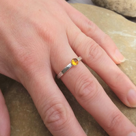Personalised 4mm Citrine, November birthstone, name and DOB silver ring