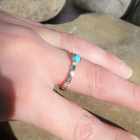 Personalised 4mm Turquoise, December birthstone, name and DOB silver ring