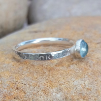 Personalised 5mm Aquamarine, March birthstone, name and DOB silver ring