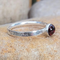 Personalised 5mm Garnet, January birthstone, name and DOB silver ring