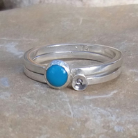 Personalised Turquoise December birthstone and initial stacking ring set of two