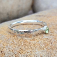 Personalised 3mm Peridot, August birthstone, name and DOB sterling silver ring
