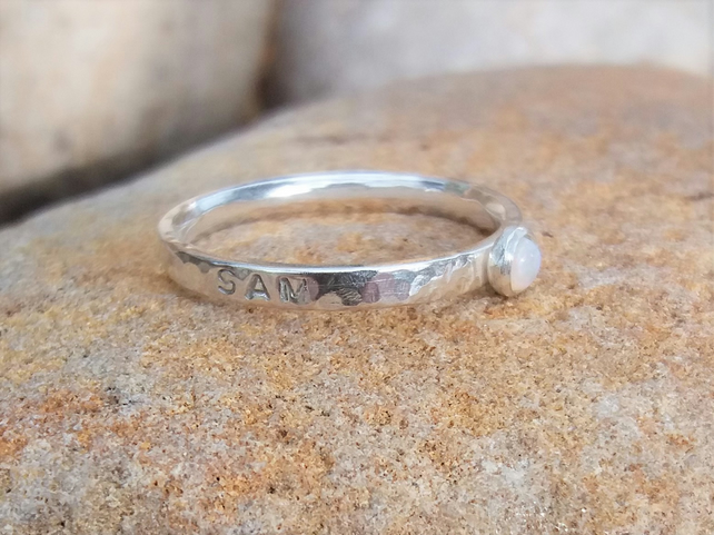 Personalised 3mm Opal, October birthstone, name and DOB sterling silver ring