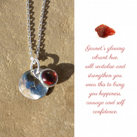 Personalised Garnet January birthstone and initial sterling silver necklace