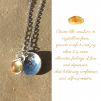 Personalised Citrine November birthstone and initial sterling silver necklace