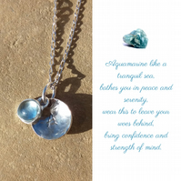 Personalised Aquamarine March birthstone and initial sterling silver necklace