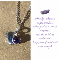 Personalised Amethyst February birthstone and initial sterling silver necklace