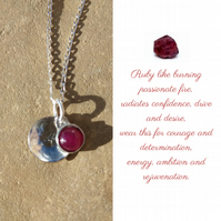 Personalised Ruby July birthstone and initial sterling silver necklace