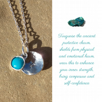 Personalised Turquoise December birthstone and initial sterling silver necklace