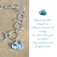 Personalised Aquamarine March birthstone and initial mixed loop bracelet